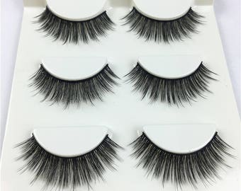 false eyelashes 3D mink layshes 3pair per box