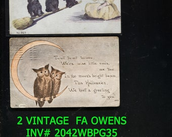 Sale Reduced 20 Dollars 2 Vintage Postcards FA OWENS Both are Posted INV# 2042 bbkpg2