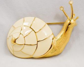 Signed Trifari Vintage Cream Enameled Snail Goldtone Brooch