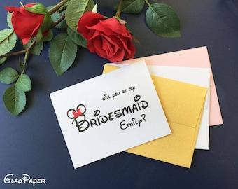 Disney Will You Be My Bridesmaid card, Custom Bridesmaid card, Custom Wedding Inviation card, Custom Wedding card, Custom Bridesmaid card