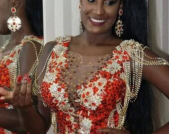 Red and Gold Elegant Brazilian Carnival Dress