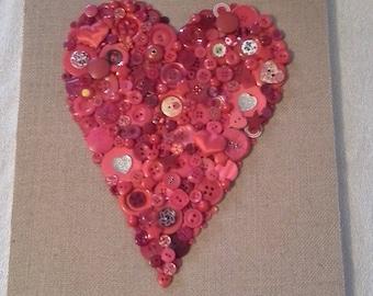 Red Heart Button Art