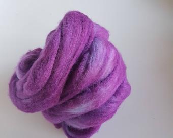 Hand Dyed Merino Silk Roving - purple