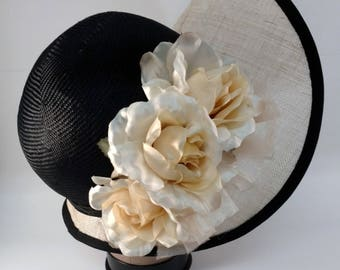 Black and Natural Wide Brim Cloche