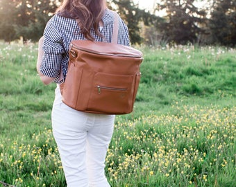 Convertible Backpack Diaper Bag/Messenger Bag - Brown