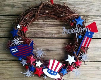 4th of July Grapevine Wreath | Red, White, & Blue, Independence Day