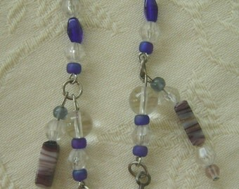Hand Beaded Pierced Earrings, Royal, Crystal French Hooks, Feather Fetishes
