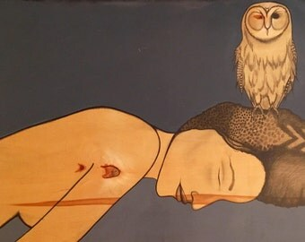 The Hermit //MAJOR//ARCANA// Woman, Owl, Sleeping, Nude, Chevron, Painting, Drawing