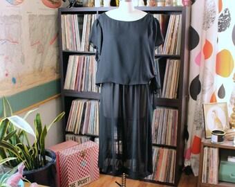 vintage sheer black dress . poly crepe dress with elastic waist . vintage volup cocktail dress, plus size 1x 2x