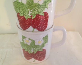 Fresh Strawberry Mugs Vintage 1970s Coffee Cups Set Of Two For Your Retro Kitchen USA