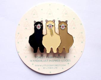 Alpacas Enamel Pin Brooch, Pin Badge, Alpaca Brooch, Alpaca Badge, Llama Brooch, Enamel Pin, Enamel Brooch- Black Cream Beige ALPACAS AMIGOS