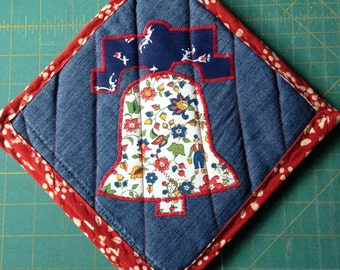 Liberty Bell Folkloric Fabric Red and Blue