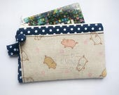Cute kawaii pig, card wallet,  coin purse, portefeuille, women cardholder id173901p2, stamp, hand painted, travel organizer, zipper pouch