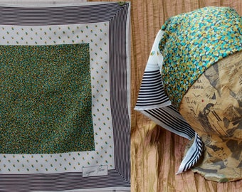"Vintage 60s to 70s Green Floral Square Square by Jacques Rene / 27"" x 27 Inches"