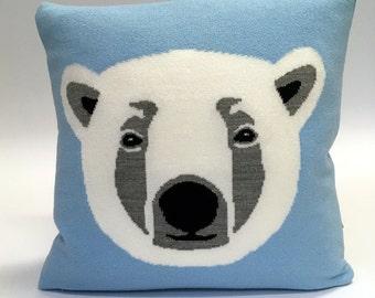 Fred the Polar Bear Pillow - Knit Cushion - Light Blue