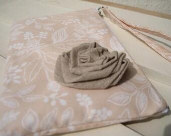 Wedding Clutch, 2 pockets,medium,peach, cotton,discount plan, wristlet, - Queen anne peach