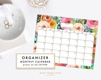 Floral Monthly Calendar Printable,  PDF   Letter-sized Watercolor Floral   Blank, Organizer, Planner   Ashley Collection   Instant Download