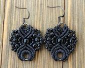 Micro-Macrame Earrings - Black