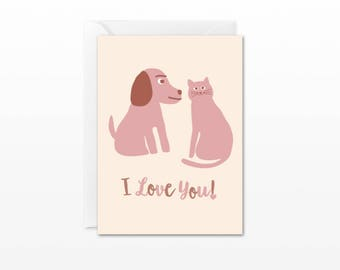 I Love You! Mini Card - Gift Enclosure Card - Cat & Dog - Valentine's Day, Anniversary, Dating, Relationship Card