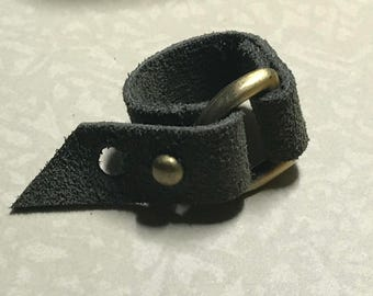 Olive Suede Leather Ring Size 8 or 10 (Adjustable) - ALL PROFITS donated to the ACLU