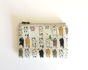mini zipper pouch  - cats on clothesline(natural)