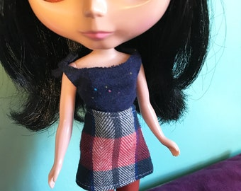 Navy Blue and Red Plaid Mod Mini Skirt for Blythe