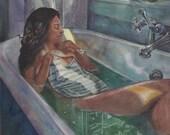 Woman Soaking in a Bath T...