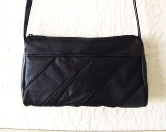 Little Crossbody Diagonal Striped Retro 70s Recycled Leather Purse