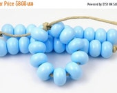 Boxing Week Sale 224 Light Sky Blue Spacers - Handmade Lampwork Glass Beads 5mm - SRA (Set of 10 Spacer Beads)