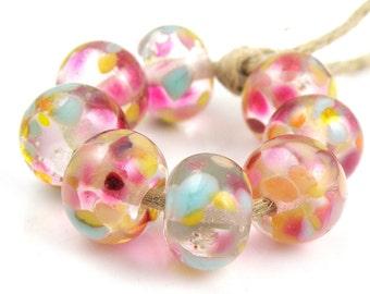 Day Dreams - Handmade Artisan Lampwork Glass Beads 8mmx12mm - Blue, Pink, Gold - SRA (Set of 8 Beads)