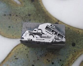 Dump Truck Vintage Letterpress Metal Printers Block