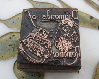 Diamond Engagement Wedding Rings Antique Letterpress Printers Block Bride