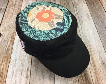Women's Military Cap in Black -  Peach Flower Top - Cadet Hat