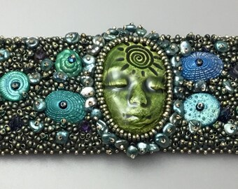 Mermaid Bead Embroidered Cuff Bracelet