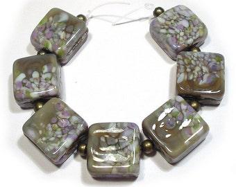 Floral Mist Tiles, Handmade SRA Glass Lampwork Beads