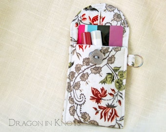Mini Essentials Pouch - ID or credit card and lip gloss holder, floral insulated lip balm case, keychain pocket with optional swivel clip