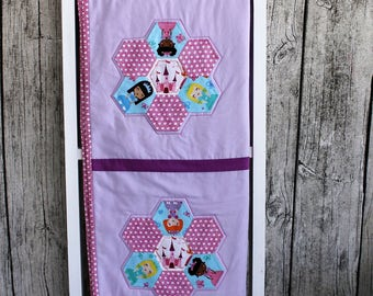 Princess Crib Quilt, Princess Baby Quilt, Hexigon Baby Quilt, English Paper Piecing Baby Quilt, Hexi Crib Quilt, Baby Girl Quilt