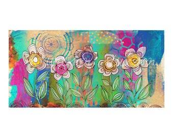 flower garden, blooms, blossoms, boho, garden, spring,purple, teal, modern, contemporary art, folk, hippie, free spirit, beehive, mandala