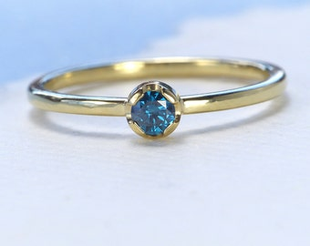 Blue Diamond Stacking Ring, 18ct Gold