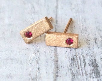 Ruby Mini Bar Studs | Available in 18k Rose or Yellow Gold | Handmade in the UK