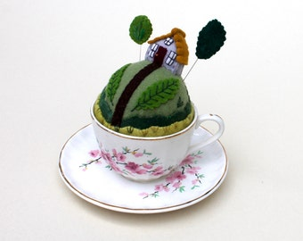 Teacup Pincushion Tiny World make-do House Cherry Blossoms