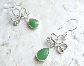 The Imperial- Green and Silver Filigree Earrings
