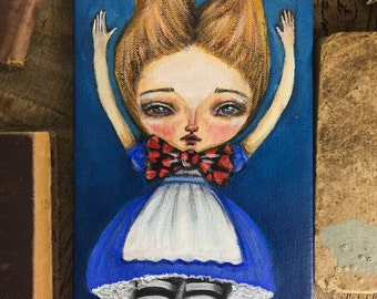 Freefall - Alice is tumbling down the rabbit hole on this amazing pop surrealism mixed media painting on canvas by Danita Art