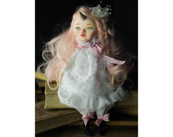 Original OOAK Art doll by Danita - Magic unicorn girl princess toy
