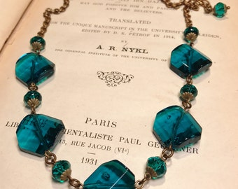 Art Deco Vintage Inspired Deep Aqua Teal Faceted Glass Bead Necklace