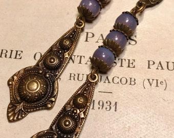 Solange long Drop Earrings in Lavender Opal Art Deco Art Nouveau Vintage Inspired Antique Brass