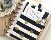 Planner Pouch - Planner cover -  Planner Band - The Pocket Planner Pouch - Black and White Stripes - Journal Cover - pencil pouch