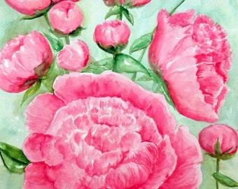 Original Peonies painting, Pink Peony Watercolors Paintings 11 x 14 original watercolor flowers painting, peony wall art, peony decor