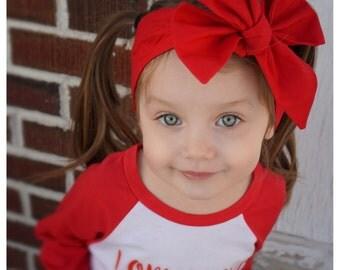 Red Headwrap, Girls Headwrap, Baby Girl Headwrap, Head Wrap, Girls Headband, Big Bow Headwrap, Valentine, Valentine's Day - SOLID RED