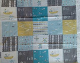 Birch Fabrics Jay Cyn Storyboek Organic Cheater Patchwork Quilt Fabric Destash Kids Cotton DIY Quilting Blue Gray Baby Gift Nursery Decor